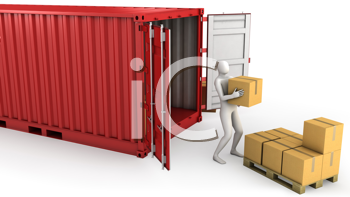 Royalty Free Clipart Image of a Worker Unloading a Freight Container