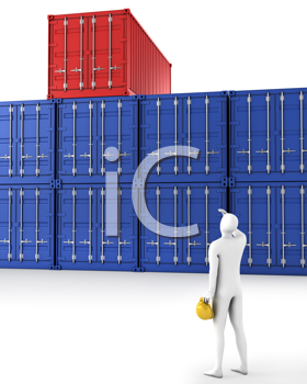 Royalty Free Clipart Image of a Man Looking at Storage Containers