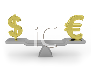 Royalty Free Clipart Image of a Balanced Dollar and Euro