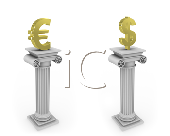 Royalty Free Clipart Image of Currency Symbols on Columns