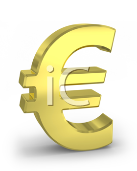 Royalty Free Clipart Image of a Gold Euro Symbol