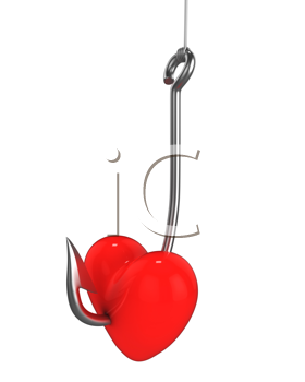 Royalty Free Clipart Image of a Red Heart on a Fishing Hook