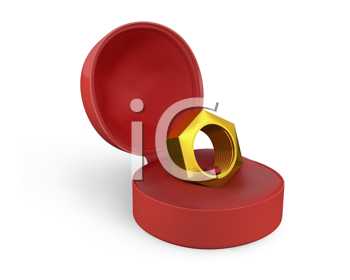 Royalty Free Clipart Image of a Bolt in a Box