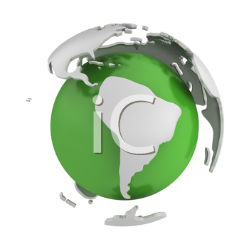 Royalty Free Clipart Image of a Green Globe With Metal Continents Lifting Away From It