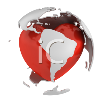 Royalty Free Clipart Image of an Abstract Globe With a Heart