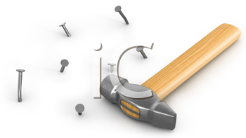 Royalty Free Clipart Image of a Hammer With Nails