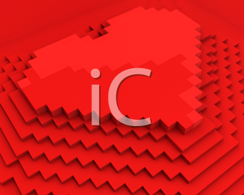 Royalty Free Clipart Image of a Red Cubic Pixel Heart