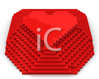 Royalty Free Clipart Image of a Red Pixel Heart