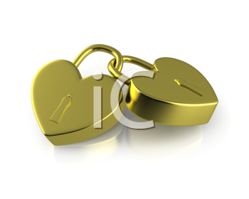 Royalty Free Clipart Image of Two Connected Heart Locks