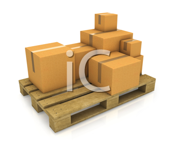 Royalty Free Clipart Image of Cartons on a Pallet