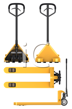 Royalty Free Clipart Image of Four Views of a Pallet Truck