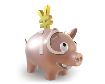 Royalty Free Clipart Image of a Piggy Bank With a Yen Symbol