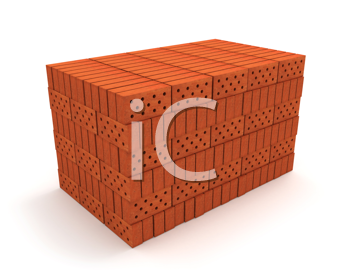 Royalty Free Clipart Image of a Stack of Orange Bricks