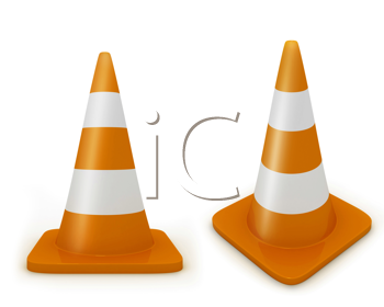 Royalty Free Clipart Image of Traffic Cones