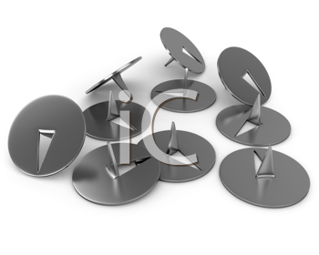 Royalty Free Clipart Image of Metal Thumbtacks