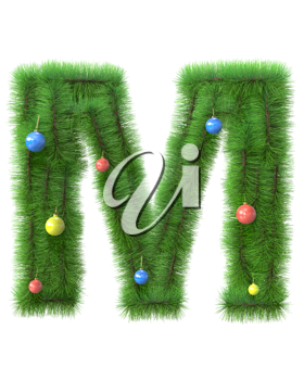 M letter made of christmas tree branches isolated on white background
