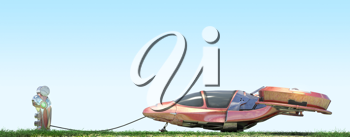 Futuristic flying car at gas station on blue background