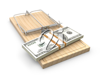 Pack of dollars on a mouse trap, isolated on white background