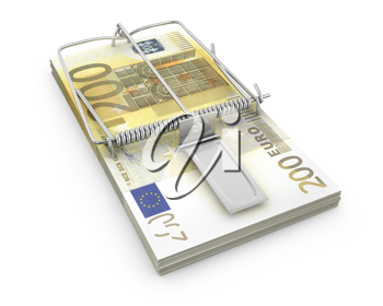 Mouse trap made of pack of euro , isolated on white background