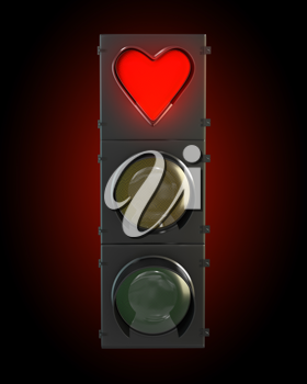 Traffic light with heart shaped red lamp