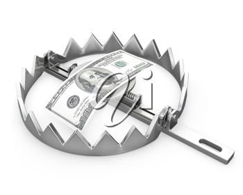100 dollars in a bear trap, isolated on white background