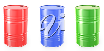 Three single red barrels, red, green and blue isolated on white background