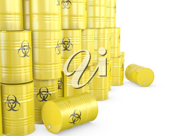 Barrels with biohazard symbol, isolated on white background