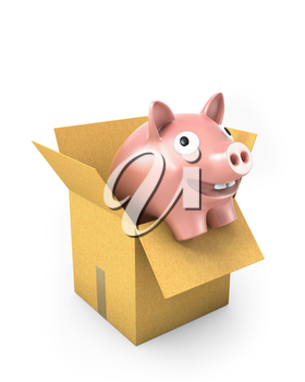 Piggy bank in a carton box, isolated on white background