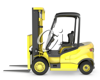 Yellow fork lift truck side view, isolated on white background
