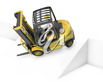 Yellow fork lift truck falling after turning on slope, isolated on white background