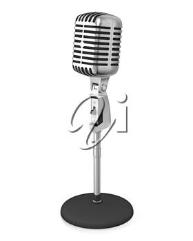 Classic microphone on black stand, isolated on white background