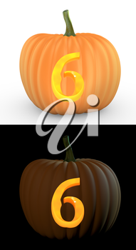 Number 6 carved on pumpkin jack lantern isolated on and white background