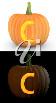 C letter carved on pumpkin jack lantern isolated on and white background