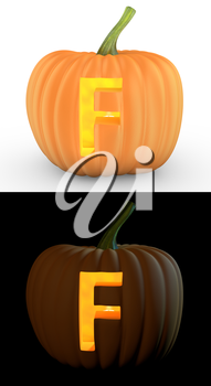 F letter carved on pumpkin jack lantern isolated on and white background