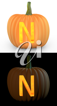 N letter carved on pumpkin jack lantern isolated on and white background