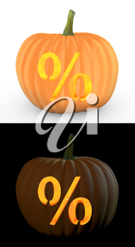 Percent symbol carved on pumpkin jack lantern isolated on and white background