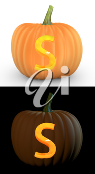 S letter carved on pumpkin jack lantern isolated on and white background