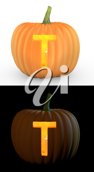 T letter carved on pumpkin jack lantern isolated on and white background