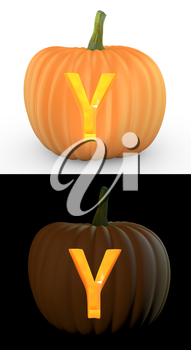 Y letter carved on pumpkin jack lantern isolated on and white background