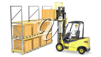 Forklift truck loads pallet on the rack, isolated on white background