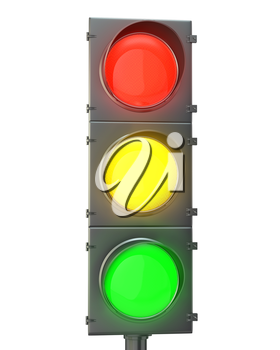 Traffic light with red, yellow and green lights isolated on white background