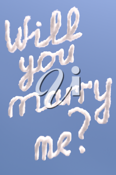 Will you marry me text in sky, isolated on blue