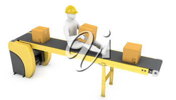 Worker sits on belt conveyor isolated on white background