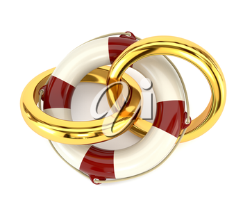 The concept of preservation of the family, wedding rings and a life buoy isolated on white background. Design family counseling services. 3d illustration.