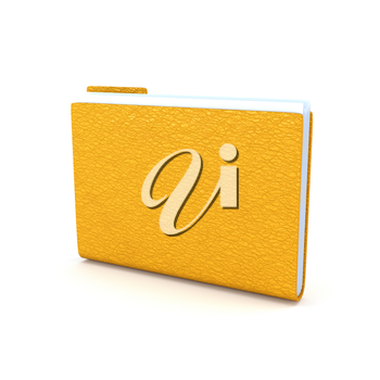 Yellow folder with leather texture isolated on a white background. 3d illustration.