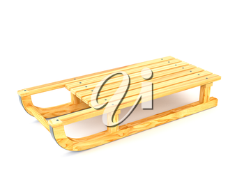 Wooden sled isolated on white background. 3d illustration.