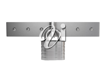 Chrome padlock on the metal door isolated on white background. 3d illustration.