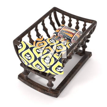 Vintage wooden cradle isolated on white background. Bright baby blanket and a pillow with a traditional African pattern. 3d rendering.