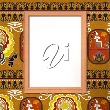 Wooden frame with a blank canvas in bright ethnic background. Tribal background. 3d rendering.