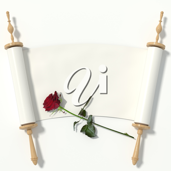 Scroll to the white paper on wooden rollers and a red rose, isolated on white background. 3d rendering.